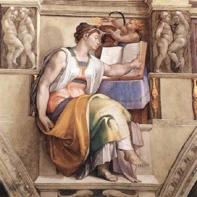 Erytrejská Sibylla od Michelangela z roku 1509. Freska v Sixtinské kapli.